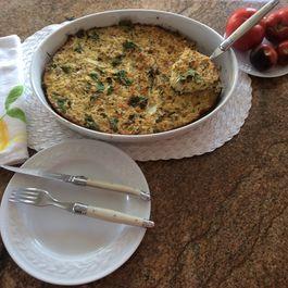 Grated cauliflower gratin