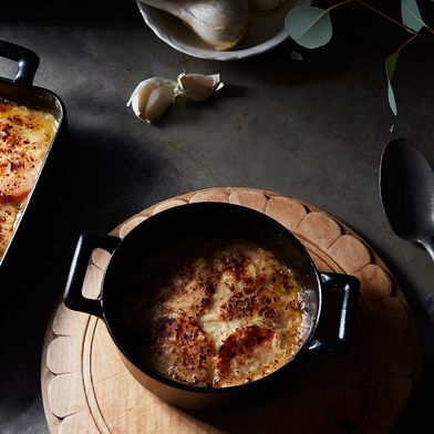 Individual Sweet Potato Gratins with Creme Fraiche, Onions, and Bacon