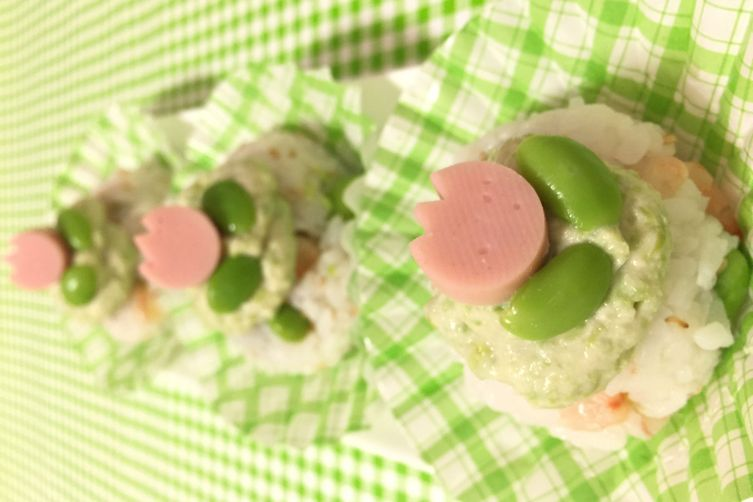 """Edamame and Shrimp """"Cupcake"""" Sushi"""