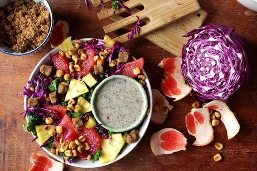 Rainbow Kale Salad with Low Fat Lemon Poppy Seed Dressing (vegan!)