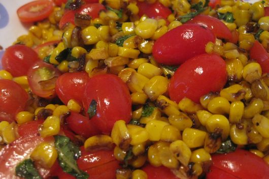 Quick Roasted Corn and Tomato Salad