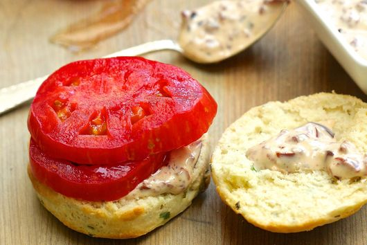 Tomatoes, on Herb Biscuits, with Olive Aioli
