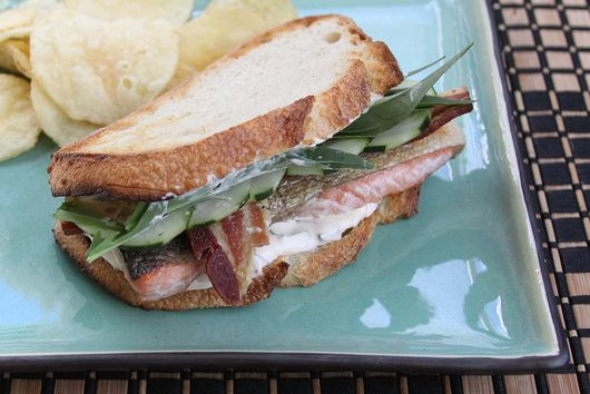 Herbed Salmon Bacon Sandwich