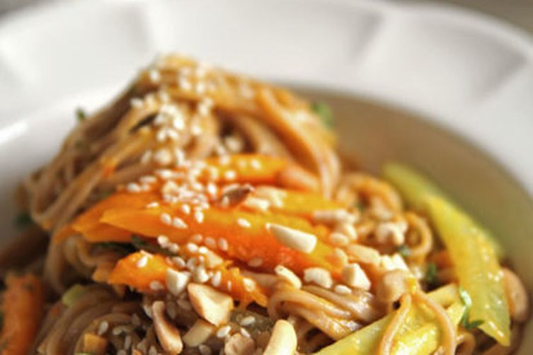 Summer Cold Soba Salad with Mango