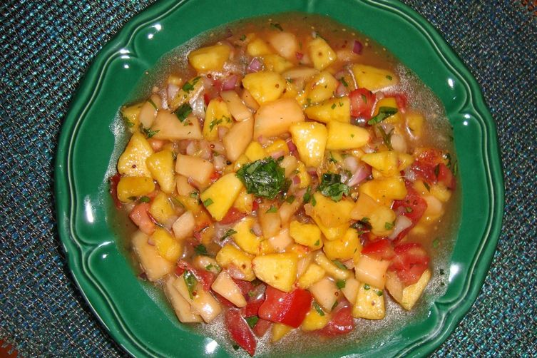 Piquante Peach, Melon and Tomato Salsa