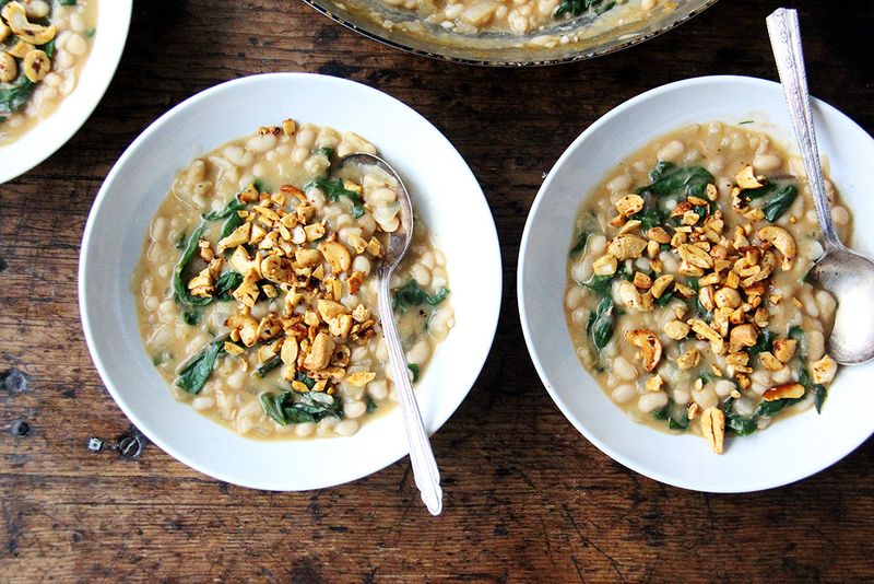 Greens & Beans with Coconut Milk and Spicy Cashews