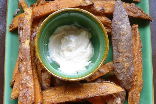 Spicy, crispy, guilt free sweet potato fries and chipotle mayo