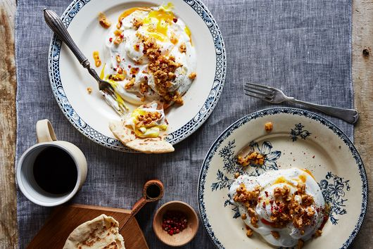 Turkish-Style Poached Eggs with Garlic Yogurt, Chili Flakes & Walnut Butter