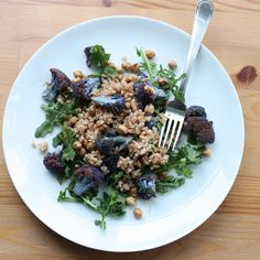 Purple Cauliflower with Farro and Toasted Chickpeas