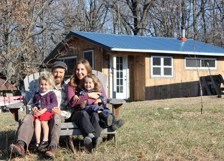 Teri and Brian Page with their 2 children, 10 acres, and 350-square-foot house.
