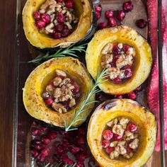 Brown Butter Roasted Acorn Squash with Cranberries and Walnuts