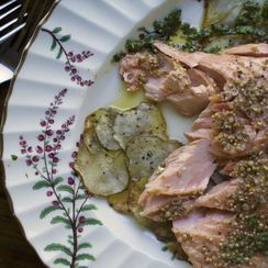 Roasted Salmon with Sunchoke Galettes
