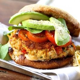 Cheddar And Cilantro Veggie Burgers Topped With Avocado