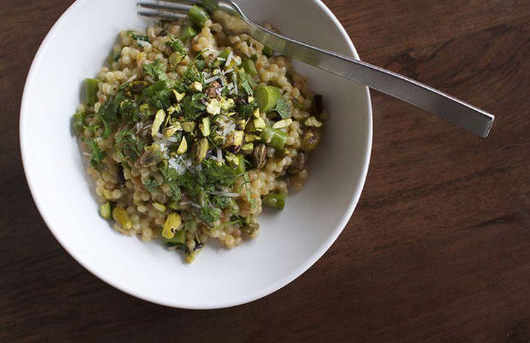 Couscous with Asparagus, Chervil + White Wine