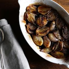Dinner Tonight: Halibut + Balsamic-Roasted Shallots
