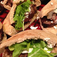 Grilled Sirloin, Goat Cheese, And Arugula Pockets