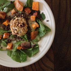 Spinach Salad with Walnut Crusted Goat Cheese
