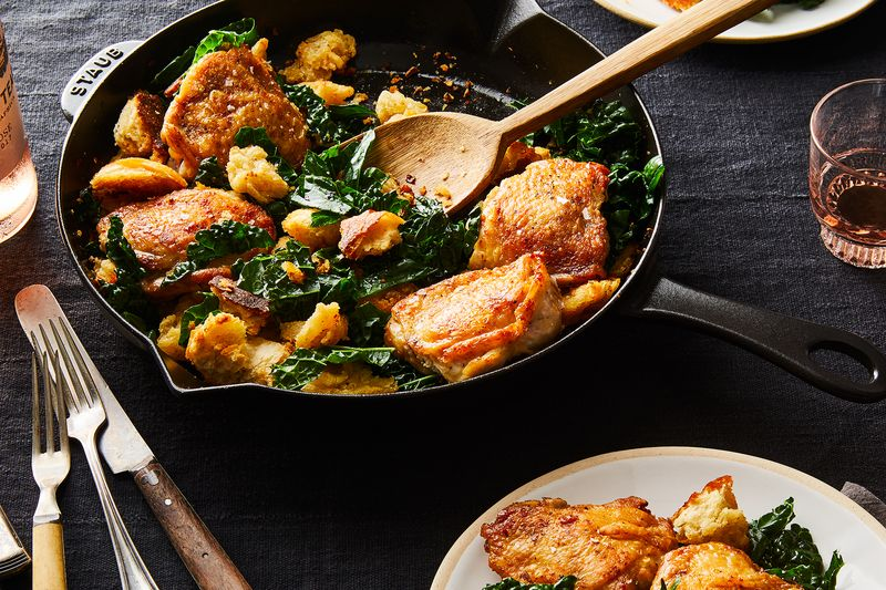 Crispy Chicken Thighs with Kale & Croutons