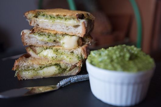 Frico-crusted Grilled Cheese with Arugula Pesto