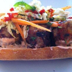 Banh Mi with Turkey Shrimp Meatballs