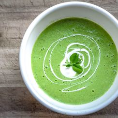 chilled green pea wasabi soup