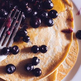Chestnut Crêpes with Roasted Blueberries