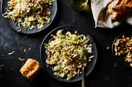 Shaved Brussels Sprouts with Brown Butter Vinaigrette, Walnuts, & Pecorino