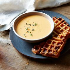 Tomato Soup and Saint-André Waffled Grilled Cheese Sandwiches