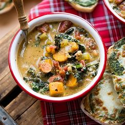 Minestrone Soup and Pesto Toast