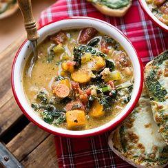 Minestrone Soup and Pesto Toast