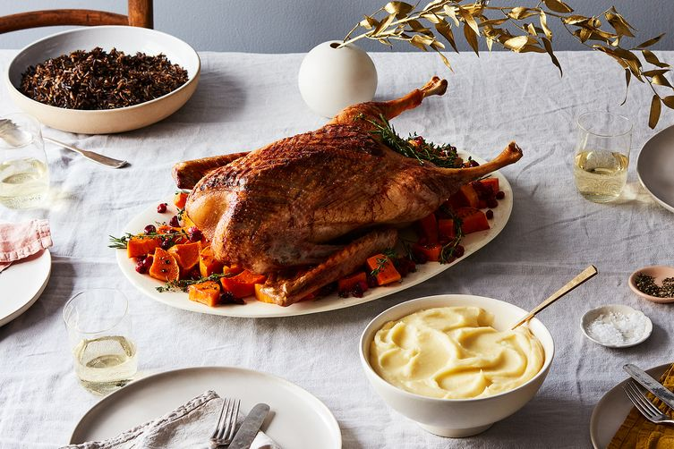 Sweet and Sour Roast Goose with Autumn Squash and Cranberries