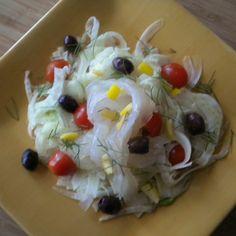 Lemon Cured Halibut over Shaved Fennel Salad