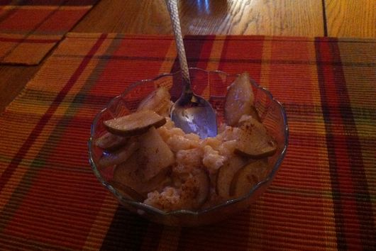 Rice Pudding with Brown Buttered Pears
