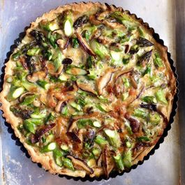 Asparagus, Leek, and Shitake Tart with Creme Fraiche and Gruyere