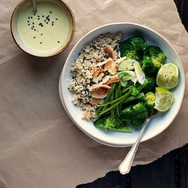 Coconut Quinoa and Warm Broccoli Bowl with Ginger-Lemongrass Dressing