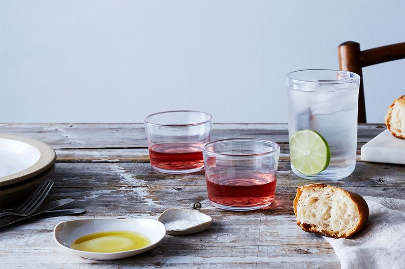 Food52 x Simon Pearce glassware comes in three sizes, for your every sipping need.