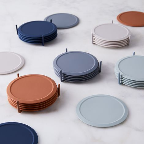 Minimalist Silicone Coasters & Stand (Set of 6)