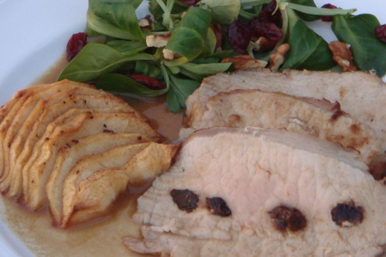 Apple Cider Marinated Pork with Prunes and Apples
