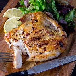 Chicken breast with bone into by Annamaria Green