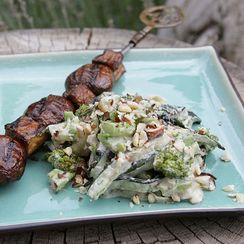 Grilled Zucchini Alfredo with Mushroom and Eggplant Steaks
