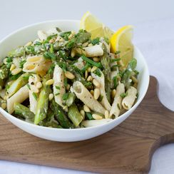 Asparagus, Goat Cheese & Lemon Pasta with Pine Nuts & Chives