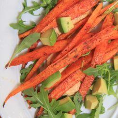Roasted Garam Masala Carrots & Spicy Hummus
