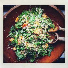 Roasted Sweet Potato, Quinoa and Arugula Salad