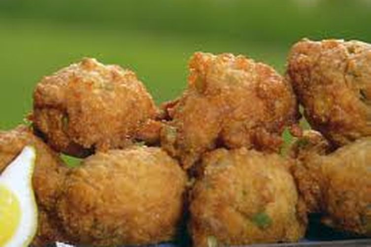 Spicy Hush Puppies with Shrimp,Jalapenos and Chipotle Sour Cream