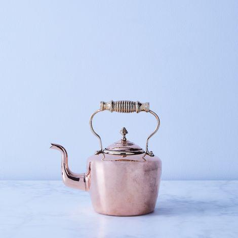 Vintage Copper William Soutter Tea Kettle Brass Handle, Mid 19th Century