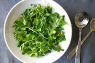 Pea Shoot and Baby Arugula Salad with Meyer Lemon Vinaigrette
