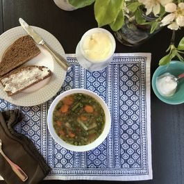 Spring Vegetable Soup with Sour Cream and Fresh Dill