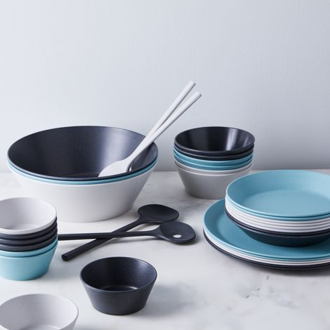 Pebble Melamine Plates & Salad Set