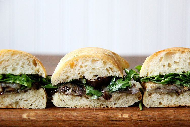 Balsamic-Roasted Eggplant and Arugula Sandwiches