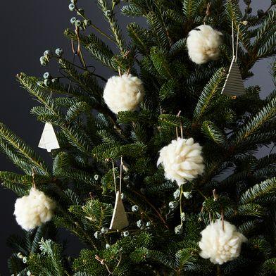 White Pom Pom Ornaments (Set of 5)